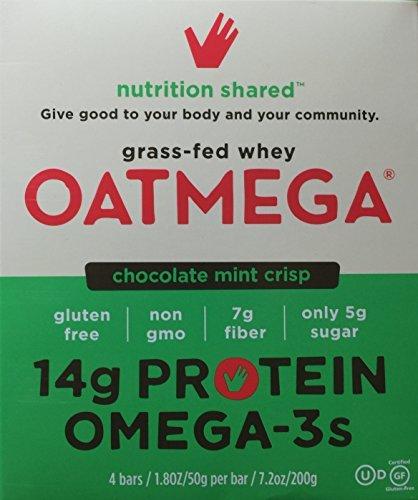 - Oatmega Nutritional Chocolate Mint Crisp Bars with Protein, 4 - 1.8oz bars