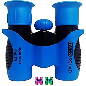 Kids Binoculars Shock Proof Set - 8x21 High Resolution for Bird Watching - Real Educational Learning Play Toys - Birthday Present for Hunting and Hiking - Gift Guide for Children Boy Girl (USA SELLER)