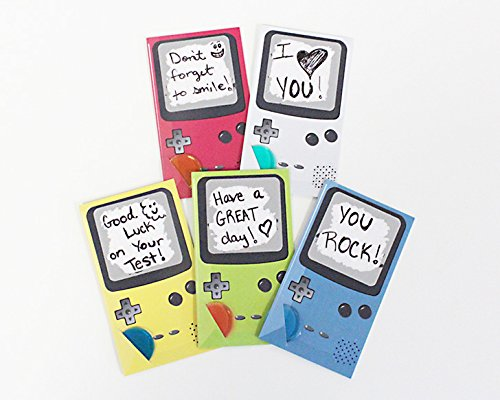 Game Boy Console Themed Lunchbox Notes for Kids & Students, Scratch Off Lunch Box Love Note Cards Do It Yourself (DIY) Hand write your own note w/Pen (pack 25 cards is 5 sets of 5 colors) -