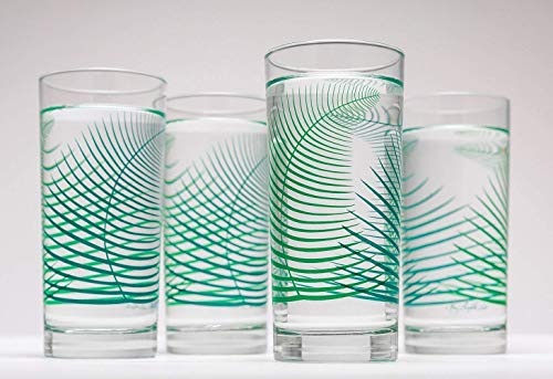 Summer Ferns Glassware - Set of 4 Everyday Drinking Glasses, Wedding Gift, Gift for Her