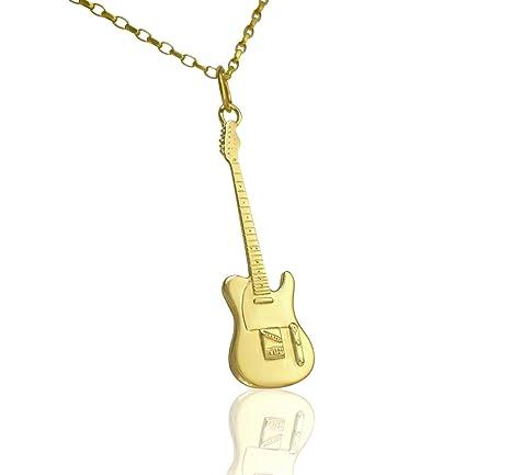 Solid 9 ct oro Fender Telecaster guitarra eléctrica colgante y collar regalo para guitarristas de jugadores