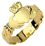 Ladies 14k Gold Claddagh Ring with Trinity Band (6.25)