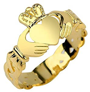 Amazon.com: Ladies 14k Gold Claddagh Ring with Trinity