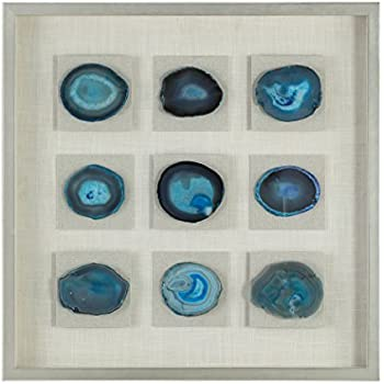 MY SWANKY HOME Blue Agate Stone Slice Wall Art | Mosaic Natural Shadow Box Slab Abstract Deep