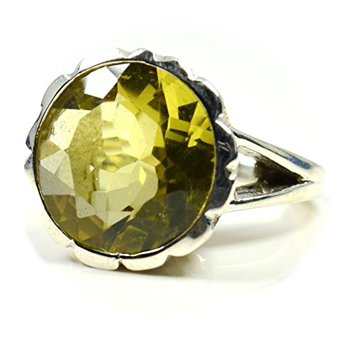 (CaratYogi Beautiful Natural Round Shape Lemon Quartz Ring Sterling Silver Size 4-12 For Mens)