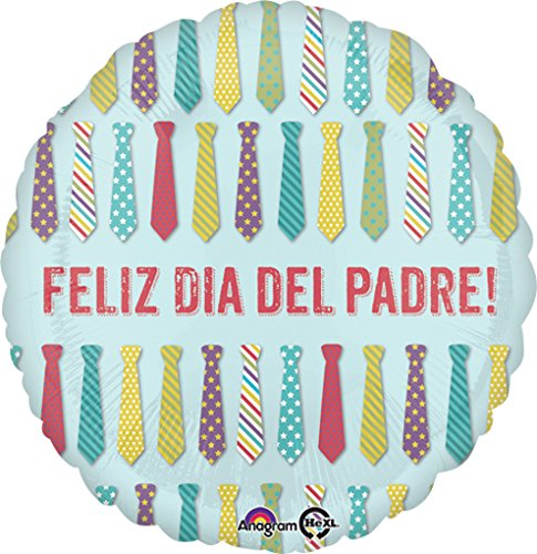 (5x pcs Value Pack) Feliz Dia Del Padre Ties Mylar-Foil-Balloons, Luftballoons Fathers-Day-Balloons.