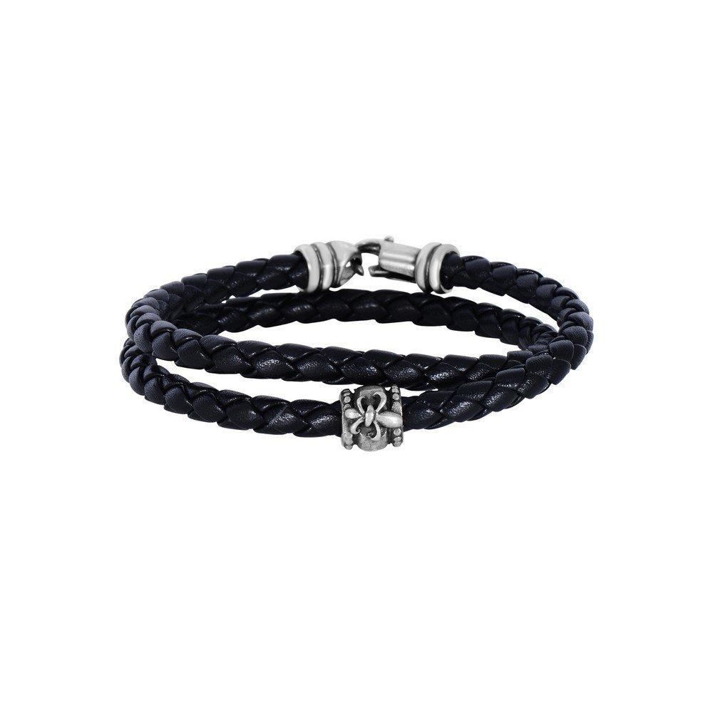 Black Leather 4mm Braided Round Wrap Around Bracelet Oxidized Ss Clasp Fleur De Lis Symbol - 8 Inch
