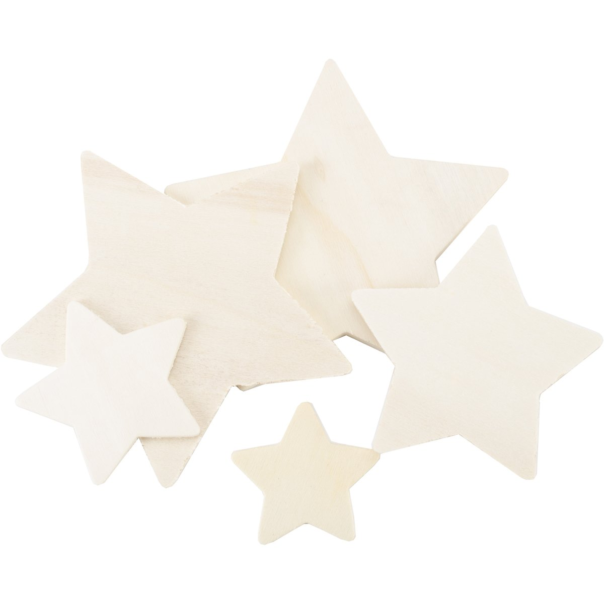 Darice Wood Cutout Star Assorted Styles ,1 to 4 inches each 9125-01