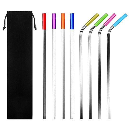 Quick Xpress Set of 16 Stainless Steel Straws Resuable 10.5 inch Drinking Metal Straws for Cold Beverage (8 Straight|8 Bent|4 Brushes|16 Silicone Tip) with 2 Black Pouch