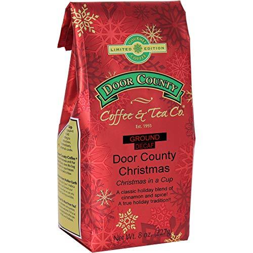 Door County Coffee, Holiday Flavored Coffee, Door County Christmas Decaf, Vanilla Ice Cream Flavored Coffee, Limited Time, Medium Roast, Ground Coffee, 8 oz Bag