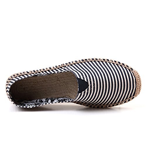 Shoes thinblack SHELAIDON And Straw Hemp Women Men's Flats Slip Espadrilles Loafers Linen Canvas on q5OBaW65