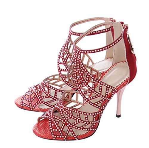 Back High Crystal Zipper Heels velveteen Sandals Sparkle Party red Cutouts Dress Women's Stiletto qpIACx
