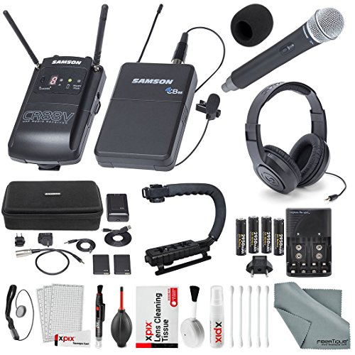 Samson Concert 88 Camera Combo UHF Wireless System (Channel K) CH88 Handheld Transmitter, and Samson SR450 Studio Headphones with Deluxe Accessory Bundle and Cleaning Kit from Samson Technologies
