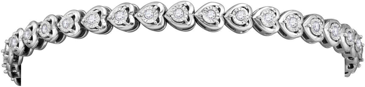 Sterling Silver Womens Round Diamond Heart Love Tennis Bracelet 7/8 Cttw (I2-I3 clarity; J-K color)