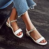 Womens Girls Rivet Flat Leather Sandals Comfy
