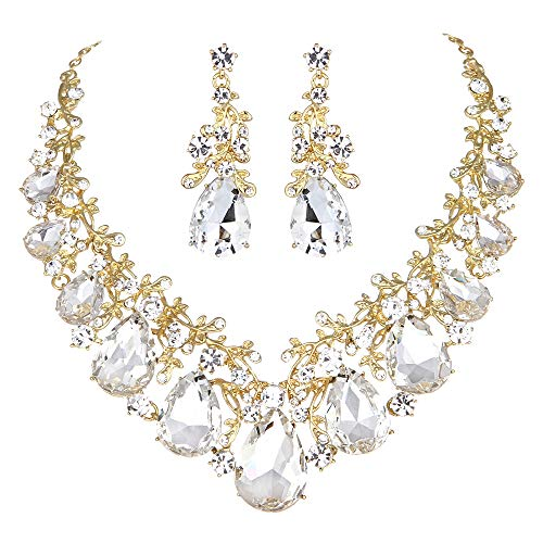 Youfir Austrian Crystal Leaf Statement Wedding Necklace and Earrings Jewelry Sets for Women Formal Dress(Clear-Gold Tone) -