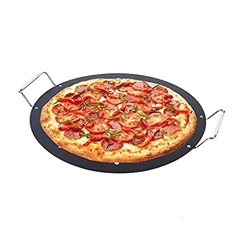 15-inch BBQ Pizza Pan, Arctic Monsoon, Non-stick Safety Coated Thick Gauge Cold Rolled Steel Material Grill Topper Pizza Stone, Black