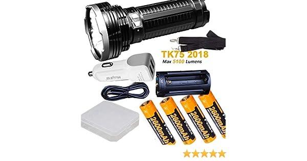Fenix TK75 2018 5100 Lumen Flashlight w// 4x 2600mAh 18650 Rechargeable Batteries