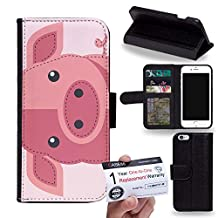"""Case88 [Apple iPhone 6 / 6s (4.7"""")] Flip Case with Stand/Credit Card Holder/Magnetic Closure - Art Pig Animals Patches Series 1632"""