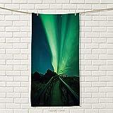 smallbeefly Aurora Borealis Sports Towel Wooden Bridge Solar Sky Scenic Radiant Rays Arctic Magic Scenery Absorbent Towel Fern Green Dark Blue Size: W 35.5'' x L 21''