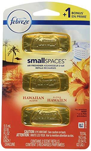 Febreze Small Spaces Hawaiian Aloha Air Freshener Refills, 3 Pack
