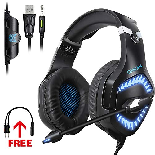 - ONIKUMA G3 Gaming Headset for Xbox PS4 PC,Memory Earmuffs Surround Sound Stereo Gaming Headphones with Noise Cancelling Mic for Mac Laptop,NS