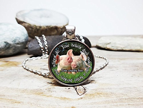 Vegan jewelry Cute pig necklace Animal necklace Sterling silver pig necklace Vintage pig necklace Vegan pig necklace