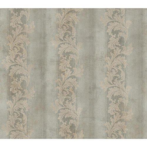 York Wallcoverings GF0813 Gold Leaf Acanthus Stripe Wallpaper, Metallic Silver, Beige