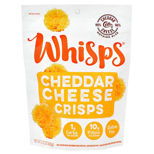 Cello Whisps 100% Cheddar Cheese Crisps and Chips Snack Bags (12 pack, 2.12oz) by Cello