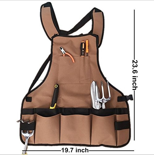 Adv-one Multi-Pocket Tool Organizer Work Apron, Utility Working Bib-Wide Shoulder and Waist Padded Straps, Waterproof and Protective Tool Apron for Carpenters Woodworking Artist Technicians Mechanics