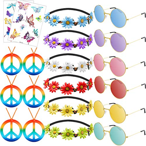 20 Pcs Hippie Costume Set Hippie Costume Accessories Vintage Sunglasses Flower Headbands Peace Sign Necklaces Glitter Temporary Tattoo Stickers 60s Party Supplies for Women Men