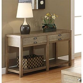 Coaster Home Furnishings 2-Drawer Sofa Table Light Oak