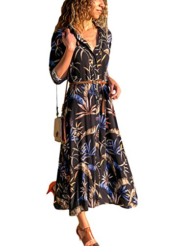 e53181721e HOTAPEI Womens Casual Button up Leaf Print Sexy V Neck 3 4 Long Sleeve  Summer