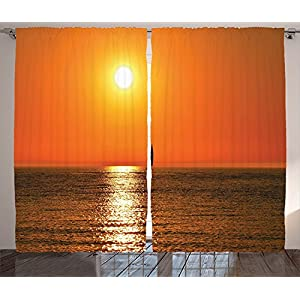 Sailboat Marine Decor Curtains Small Yacht Sailboat on Lake Michigan at Sunset Nautical Serenity Maritime Culture Living Compartment Bedroom Decor 2 Panel Set Orange