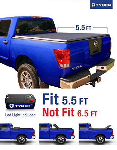 09 Nissan Titan Pickup (Tyger Auto TG-BC3N1026 Tri-Fold Pickup Tonneau Cover (Fits 04-15 Nissan Titan (with/without Utility Track) 5.5 feet (66)