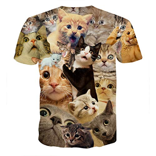(Men's Tee, Boy Punk Tops 3D Print Cat Print Blouse Short Sleeve T-Shirt Top Blouse Plus Size for Summer)