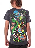 Alice in Wonderland Psychedelic Top - Fine Print Cotton T-Shirt for Men in Color Steel - Large