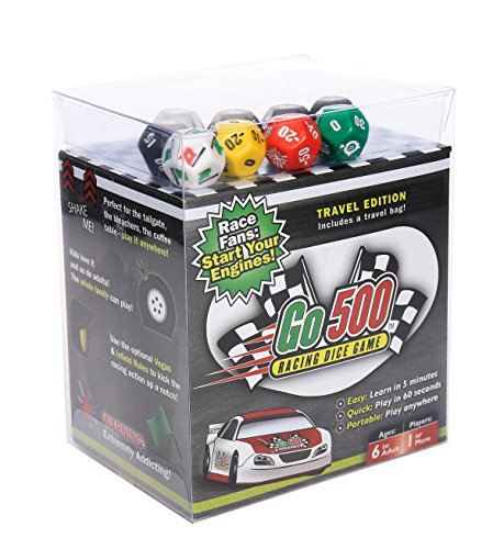 Go500, Nascar Dice Game - Car Racing Dice Game - Super Fun Nascar Game – Ultra-Portable, Easy, and Fun Dice Game. Perfect For Travel, Home, Parties, Gifts, Stocking Stuffers, (Nascar Stocking)