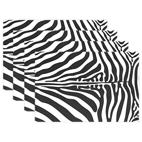 WOOR Pattern Skin of Zebra Placemats for Dining Table Heat Resistant Kitchen Table Decor Washable Table Mats Set of 6 ()