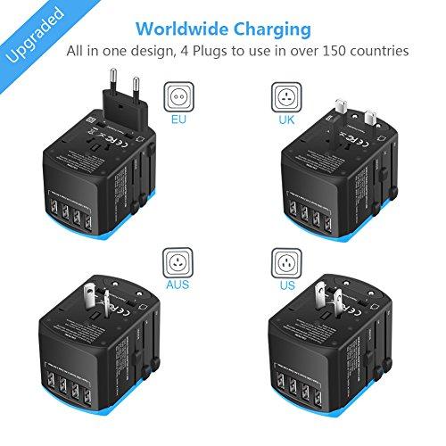 Universal Power Travel Adapter,RXSQUL International Power Adapter Smart 2.4A 4 USB, European Adapter Converter,Plugs Adapters Europe, Canada, UK, US, AU, Asia-Blue by RXSQUL (Image #1)