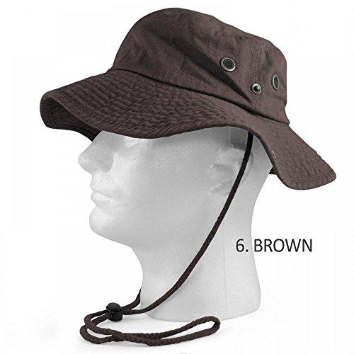 Brown_(US Seller)Fishing Military Hunting Safari Hat Cap (Big Smith Bib Overalls)