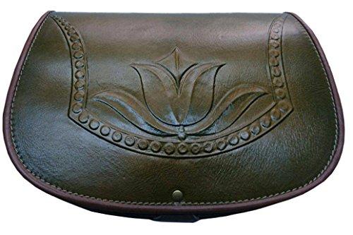 Koson borsetta in cuoio stampato design fatto a mano unico verde Tulip