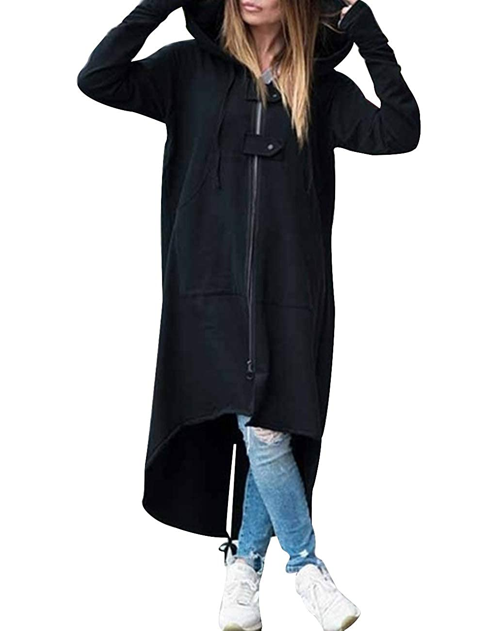 SOMTHRON Women Loose Winter Outerwear Jacket Hoodies Hooded Long High Low Trench Coat