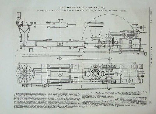 Impresión Antigua de Prusia de Humboldt del Diagrama del Motor del Compresor de Aire 1875: Amazon.es: Hogar