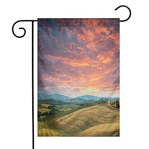duommhome Tuscany Garden Flag Tuscany Italy Cypress Trees and Fields Crop Cloudy Sky Holiday Destination Decorative Flags for Garden Yard Lawn W12 x L18 Vermilion Khaki