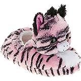 Beanie Boo Girls Winter Slippers Faux Fur Pink Zebra Zoey Slip on (XXL 5-6 Little Kid)