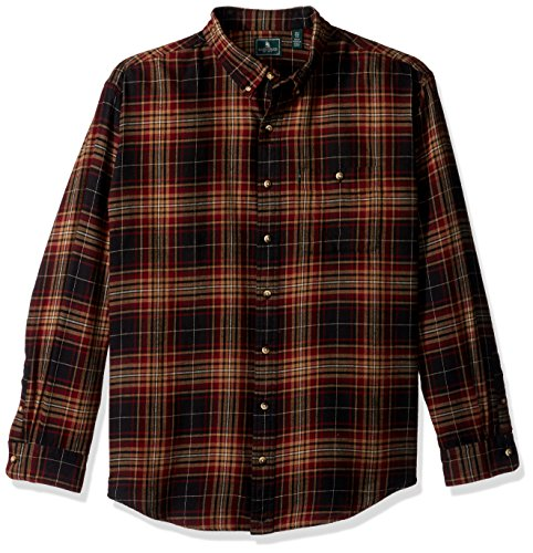 G.H. Bass & Co. Men's Big and Tall Fireside Flannel Long Sleeve Button Down Shirt, Anthracite, 2X-Large
