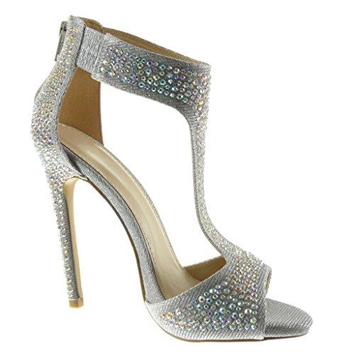 Aiguille Sandale Diamant Bottine CM Brillant Strass Chaussure Salomés Argent Mode 5 Haut Sexy 12 Stiletto Talon Femme Angkorly EqwOUzAa