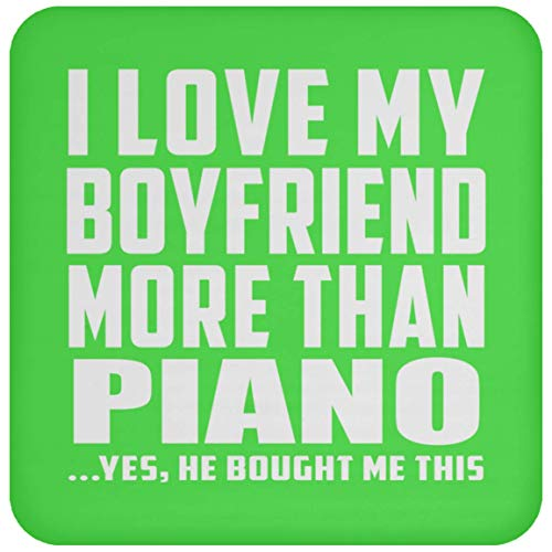 Designsify I Love My Boyfriend More Than Piano - Drink Coaster Kelly/One Size, Non Slip Cork Back Protective Mat, for Birthday Anniversary Christmas - Piano Wood Card