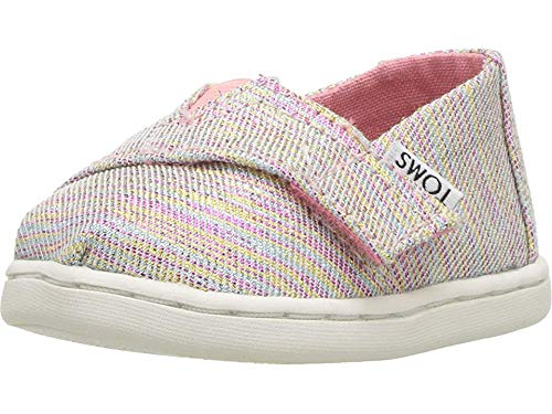 TOMS Kids Baby Girl's Alpargata (Infant/Toddler/Little Kid) Pink Multi Twill Glimmer 6 M US Toddler